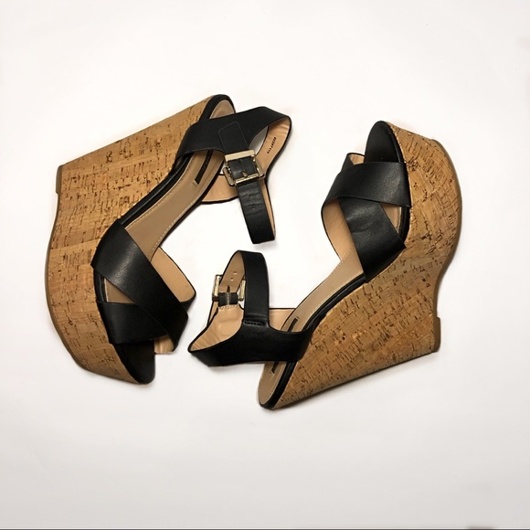 Forever 2 Tall Black Strappy Wedges